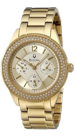 Relogio Bulova 97n102 Crystal Feminino Dourado