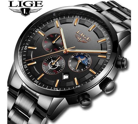 Relógio Masculino Casual Esportivo Luxo Lige A Prova D