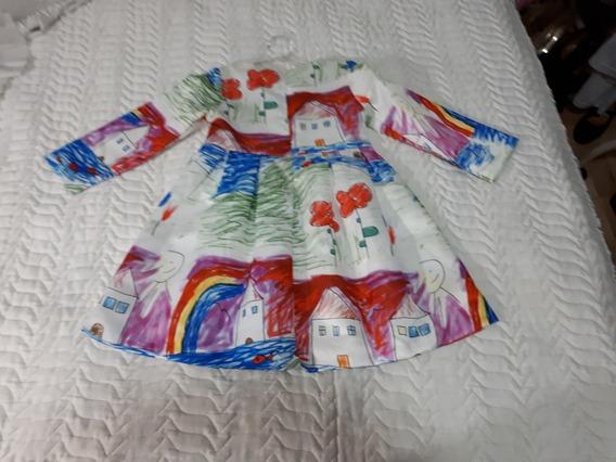 Lindo Vestido Manga Longa Para Criança De 4 A 5 Anos