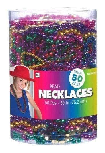 50 Collares Perla Bead Bolitas Color Surtido Fiesta Carnaval
