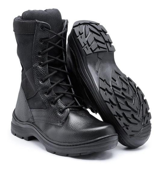 Bota Coturno Militar Acero Couro Cano Alto Policia Masculino