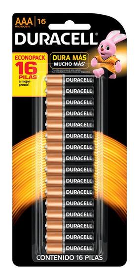 Kit Pilhas Alcalinas Aaa Duracell Duralock 16 Unidades