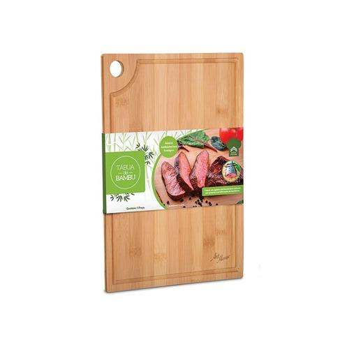 Imagem 1 de 3 de Tábua De Bambú Para Cortes De Carne Peixe Temperos E Outros