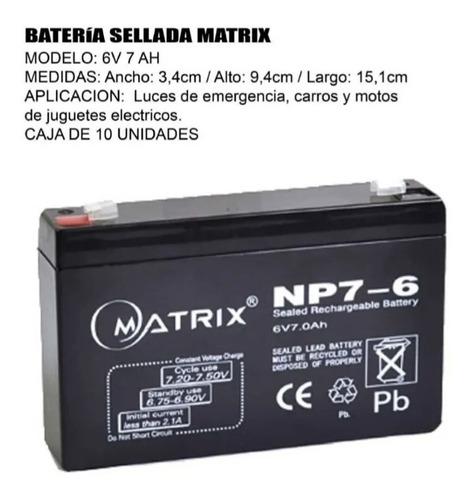 Batería Sellada Matrix 6v 7ah Np7-6
