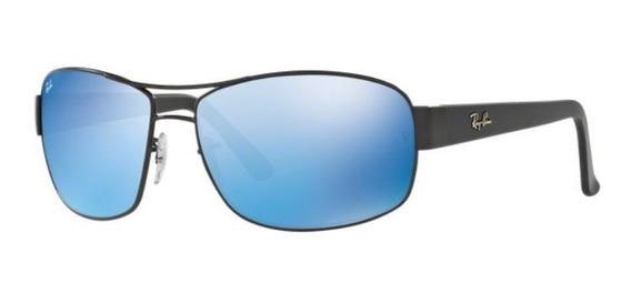 Oculos Sol Ray Ban Rb3503 006/55 64mm Preto L Azul Espelhada
