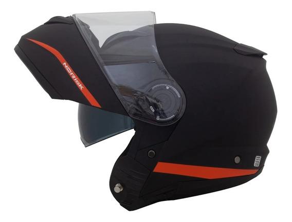 Capacete Norisk Force Simplicity Preto Fosco / Laranja Escamoteado Articulado Com 2 Viseira