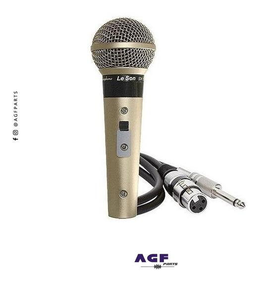 Microfone Leson Sm58 P4 Vocal Profissional Oferta Prata+ P10