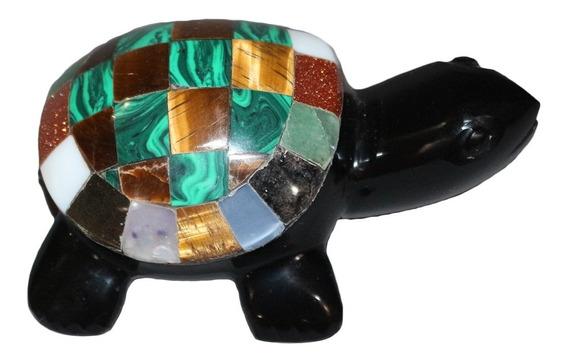 Figura De Tortuga De Obsidiana, Piedra Ágata Y Concha