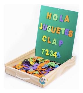 Pizarras Imantadas Letras Y Numeros Caja Madera Clap Niños