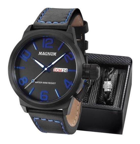 Kit Relógio Magnum Masculino Com Pulseira Original Ma33399o