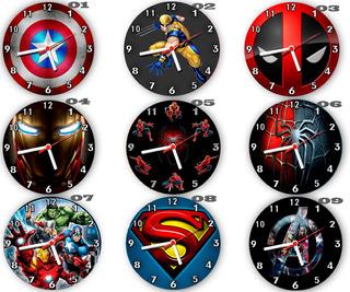 Relógios Parede Super Heróis Marvel Dc Vários Modelos 24 Cm