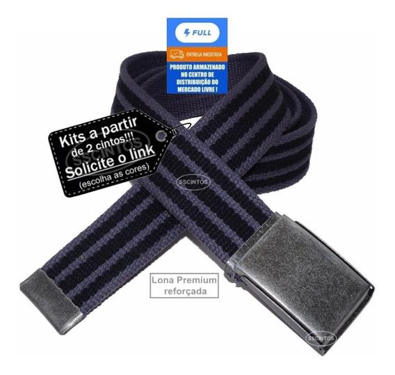 Cinto Masculino Lona Premium Dupla Face 4cm L40df Cz Full