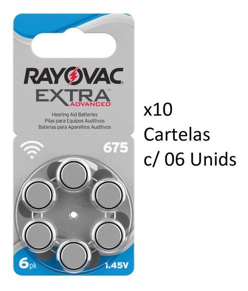 Kit 10 Cartelas Pilhas Auditivas Rayovac C/6 Unids 675