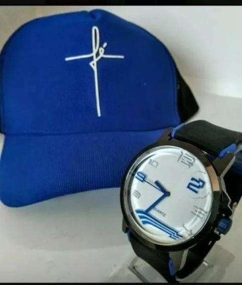 Kit 10 Relógios Masculino + 10 Bonés Telinha Atacado Re