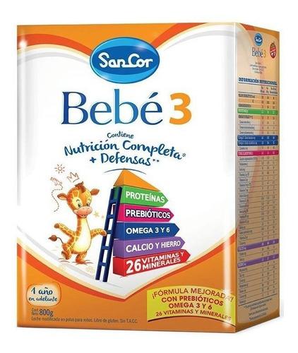 Leche de fórmula en polvo Mead Johnson SanCor Bebé 3 en caja 800g por 6 u