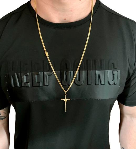 Correntinha Masculina Lacraia 3mm Banhada Ouro Com Crucifixo