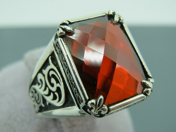 Anel Prata Pedra Granada Tamanho 29 (21.2mm)