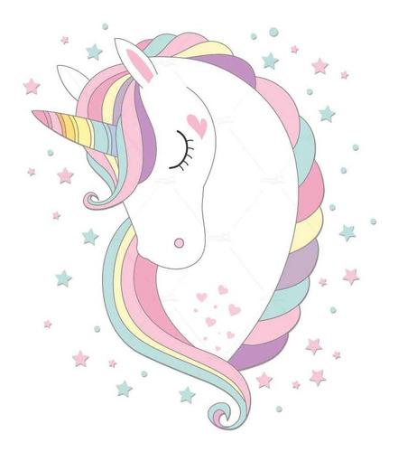 Adesivos Parede Infantil Cabeça Unicornio Estrelas Cilios