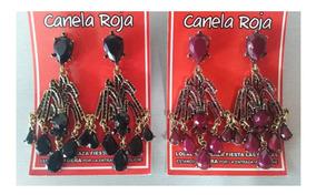 903c7f865 Aretes Largos Con Piedra Negra Fantasia - Aretes en Mercado Libre México