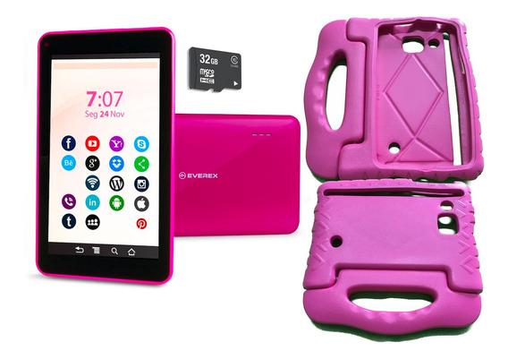Tablet Android 8 Tela 7 Poleg Capa Emborrachada Cartão 32gb