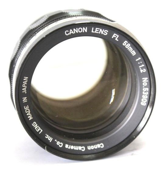 Lente Canon Fl 58mm 1:1.2 Made In Japan Em Perfeito Estado