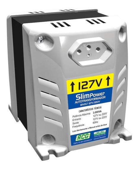 Auto Transformador Bivolt Rcg Slim Power 3000va 127v Ou 220v