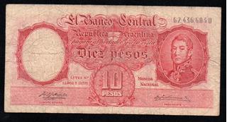 Billete Argentina 10 Pesos Moneda Nacional Bottero 1956