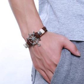 Bracelete Pulseira Masculino,aço Inoxidável,couro,frete Grat