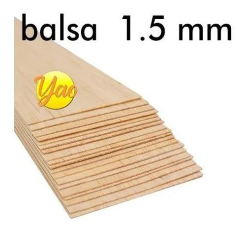 Imagen 1 de 5 de Madera Balsa En Plancha De 1.5 Mm 7,6 Cm X 91,5 Cm