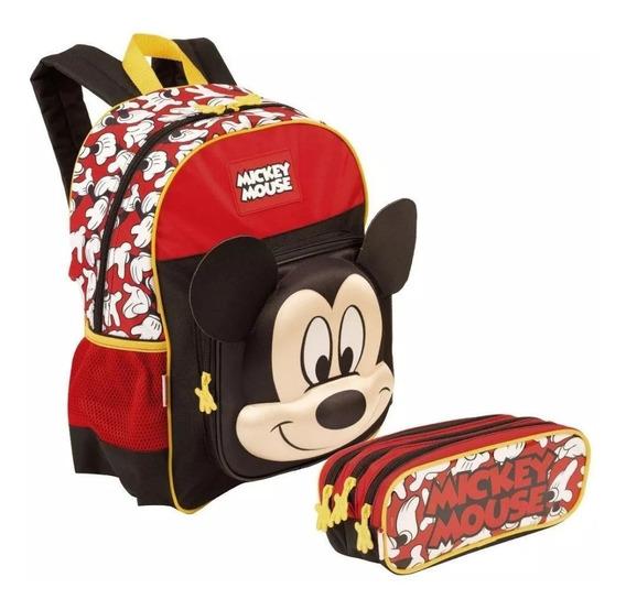 Mochila Escolar Infantil Mickey Mouse Alto Relevo Costas 19y M Sestini Estojo