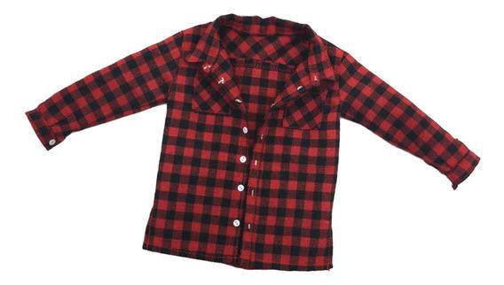 1 : 6 Escala Masculino Camisa Plaid Roupas Homens Roupas Par