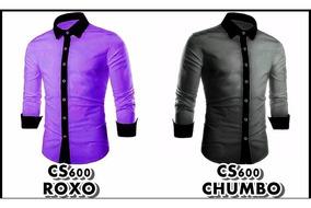 Camisa Social Slim Fit Masc P/e Camiseta Casual