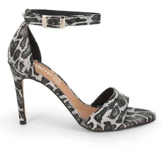 Sandalias Zapatos Dama Animalprint Tacon Delgado Negros 9110