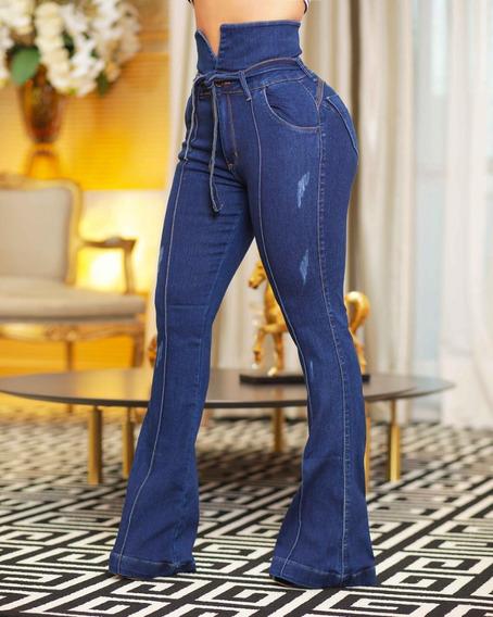 Calça Jeans Flare Com Lycra Feminina Veste Bem Modela