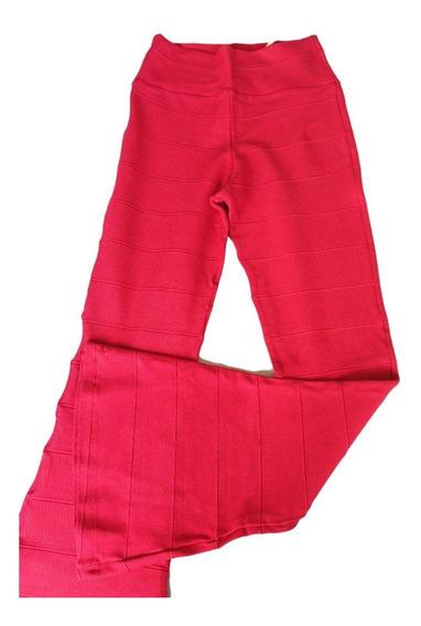 Calça Feminina Flare Bandagem Vermelha Promoção 50% Off