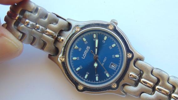 Relogio Lorus Seiko Bracelete Slim Data Azul Anos80 Funcion