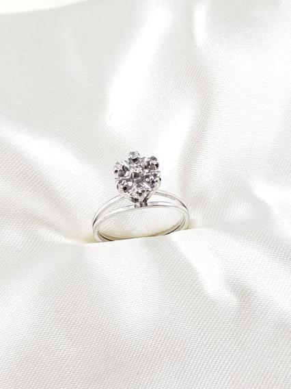 Anel Chuveiro Ouro Branco Com Diamantes 02 Pontos Cada
