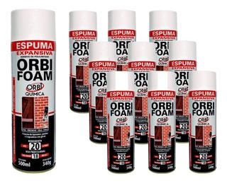 10 Espuma Expansiva Orbi Foam 340g/500ml Fixa Cola Preenche