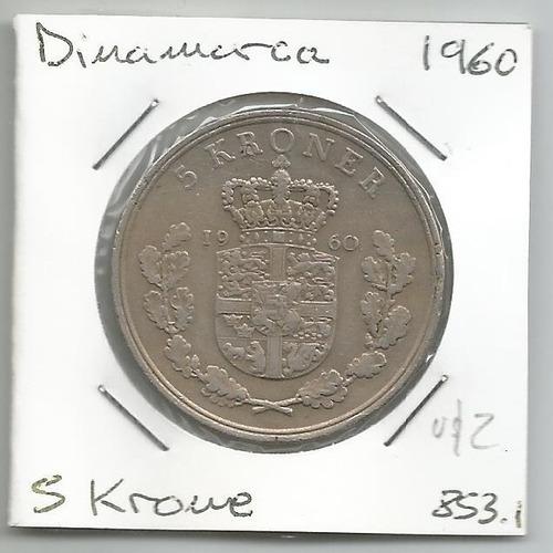 M164 Dinamarca Moneda 5 Krone 1960 Km# 853.1