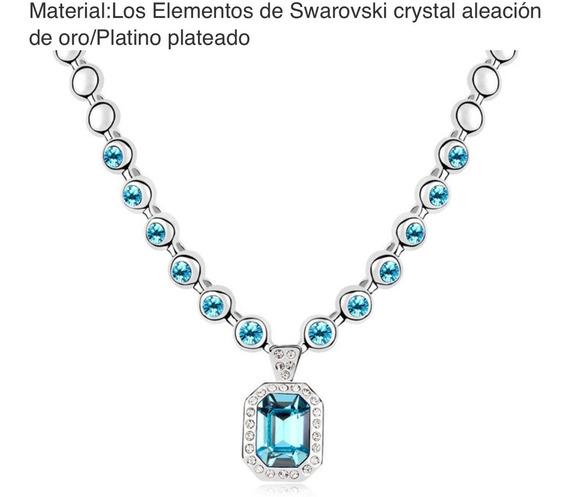 Collar Azul Celeste Cristal Swarovski Originales, Platino