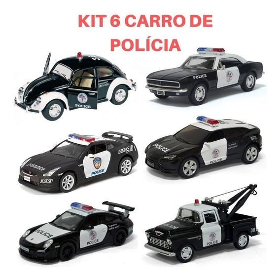 Kit 6 Miniatura De Ferro Carrinho Coleção Viatura Policia