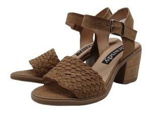 Zapato Sandalia Cuero Trenzado Base Goma Taco Mujer 3440-1