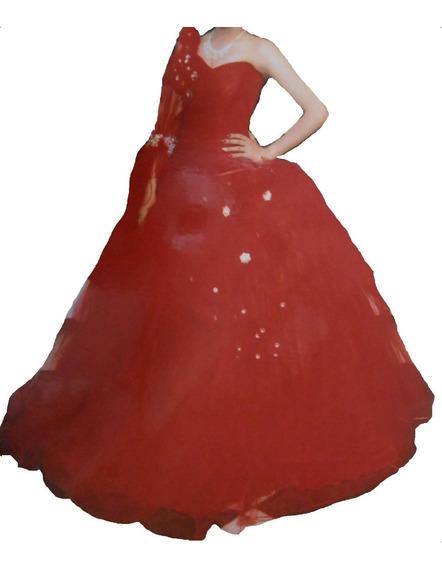 Vestido Quinceañera 15 Años Moderno Rojo Chico Completo