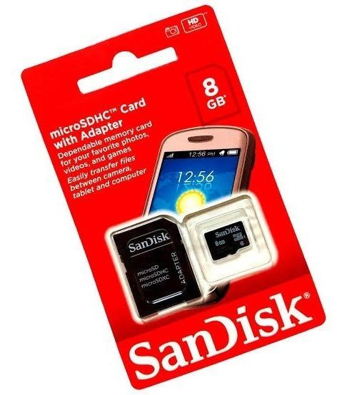 Cartão Memória Micro Sd 8gb Sandisk 2 X 1 Original