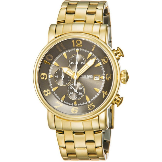 Relógio Technos Dourado Crono Os10cr/4d V.cinza + Frete