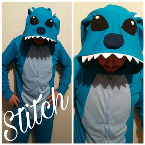 Stitch Pijama Macacão Kigurumi Azul Rosa