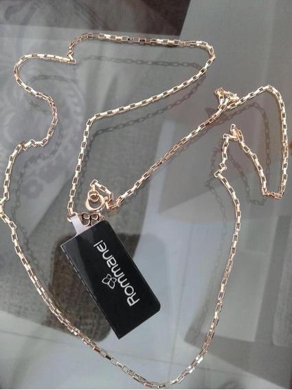 Cordão Cadeado Feminino Rommanel Folheado Ouro 50cm 530715