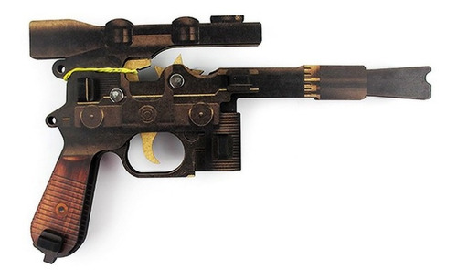 Pistola Que Dispara Elásticos   Blaster   Madeira Mdf