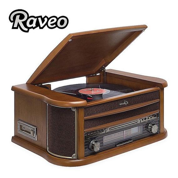Toca Discos Raveo Ópera Sistema Hi-fi Vintage Lp Fm Usb Cd