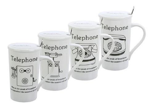 Mug De Porcelana Con Tapa Y Cucharita Surtido 4 Diseños